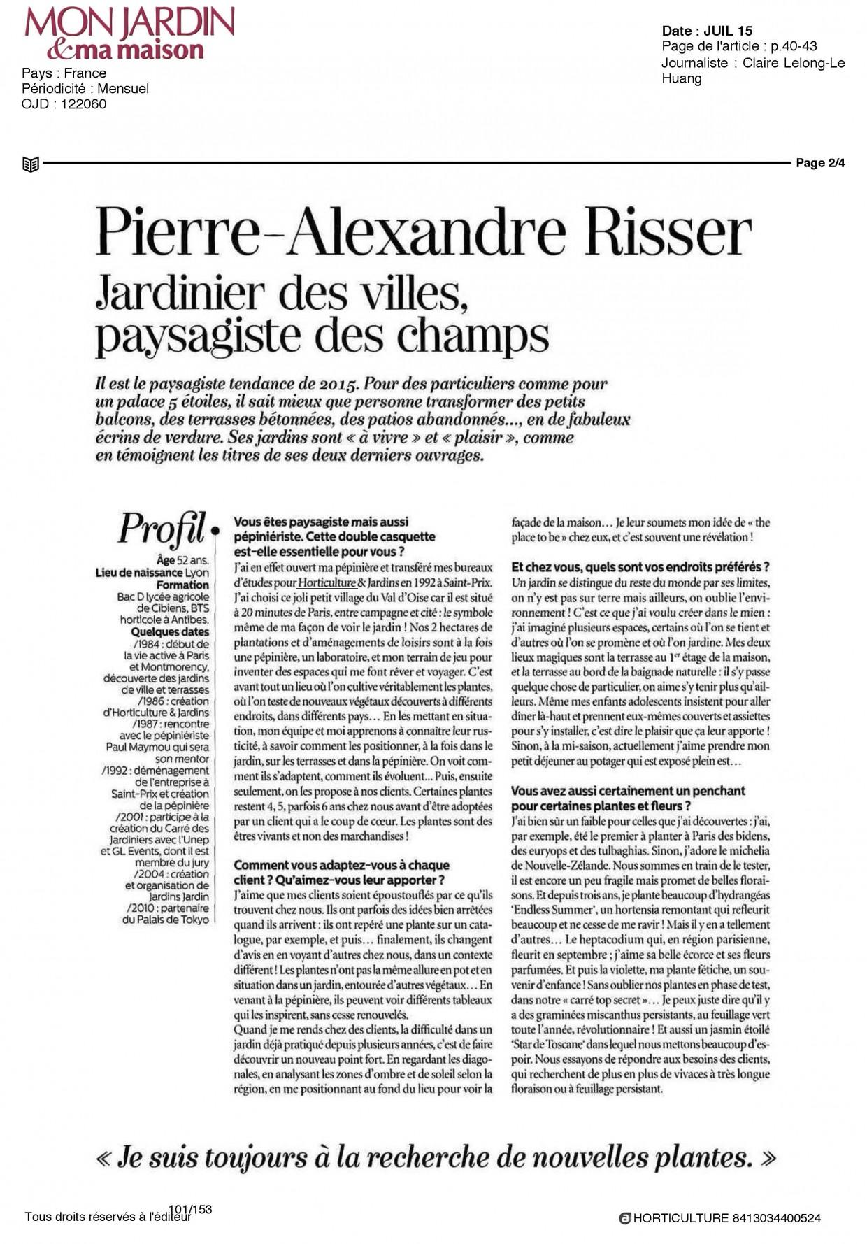 Revue de presse horticulture et jardins - Pierre alexandre risser ...
